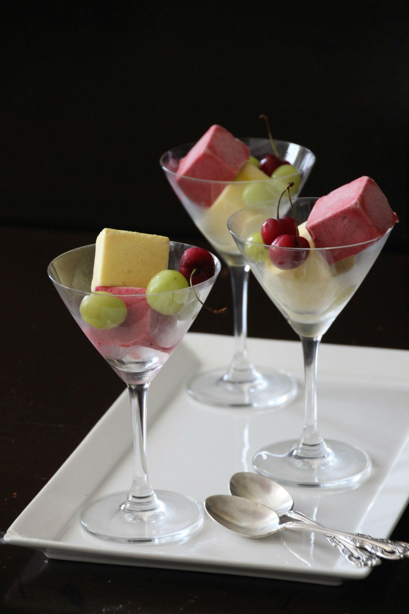 סורבה פירות בשני צבעים