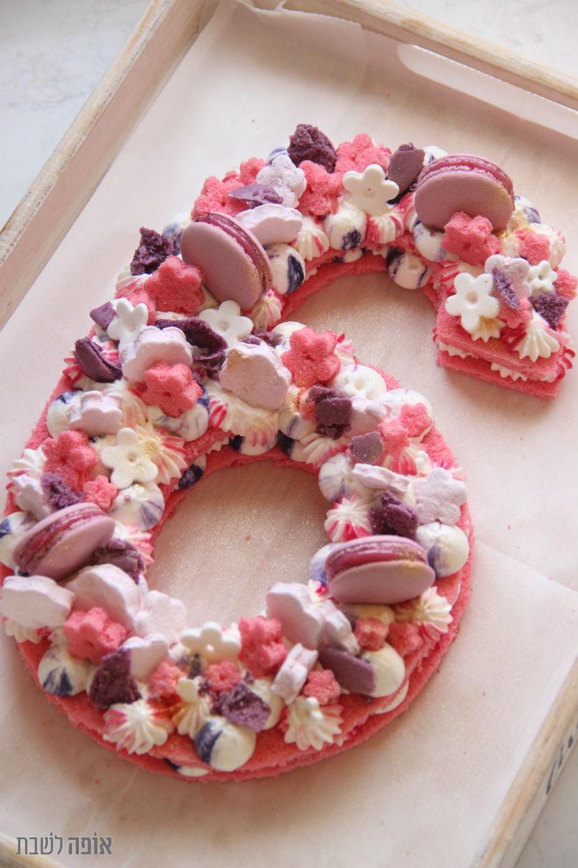 עוגת מספר-הולדת ורודה